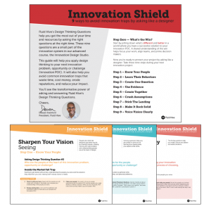 Sample pages from inside Fluid Hive's Innovation Shield