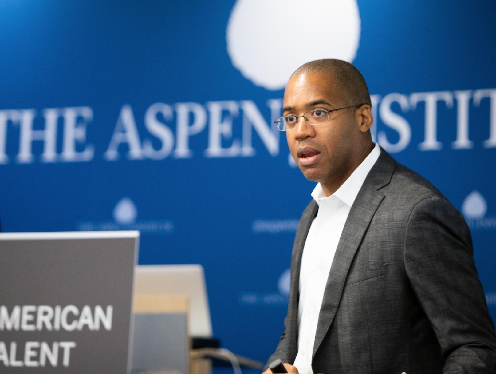 photo of Dawan Stanford facilitating at the Aspen Institute in DC